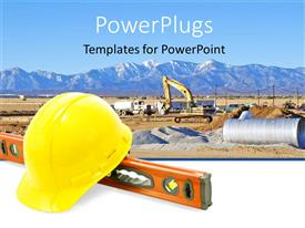 Audience pleasing theme featuring construction equipment for work yellow construction  hat  level tool