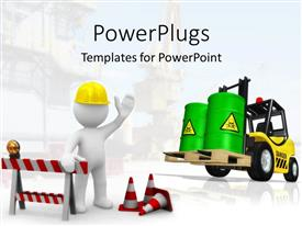 Amazing presentation theme consisting of construction theme with 3D figure wearing yellow hardhat, constructing signs and cones, forklift with two large green toxic barrels