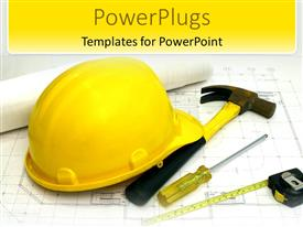 Elegant PPT theme enhanced with a construction worker's hat along with a hammer