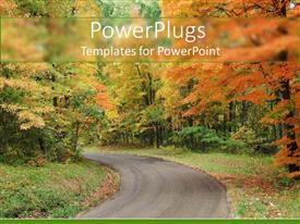 Audience pleasing PPT layouts featuring country road leading through forest with trees and grass in autumn scenery