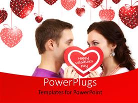Audience pleasing presentation theme featuring a couple in love on a white colored background