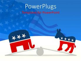 Elegant slides enhanced with couple of mascots breaking the balance with American Flag