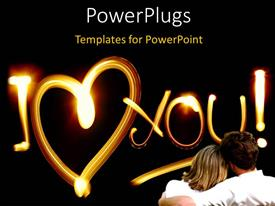 Elegant PPT layouts enhanced with a couple sitting together loving each other with blackish background