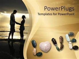 Slides consisting of a couple standing on a beach along with the word love spelled with stones