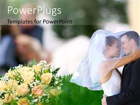 PPT theme consisting of a couple on their wedding day with  bunch of flowers