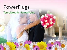 PPT layouts having a couple on their wedding day with a lot of flowers