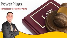 Amazing presentation theme consisting of a young smiling man beside a large law book abd a gavel