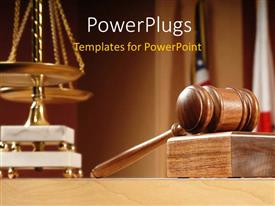 PPT theme enhanced with courtroom with balance and gavel on the table