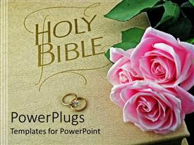 Colorful presentation theme having cream colored Holy Bible with two wedding rings and pink roses
