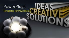 PPT theme enhanced with a number of bulbs suggesting a number of ideas