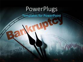 PPT theme having crisis depiction with downward chart and clock face at bankruptcy