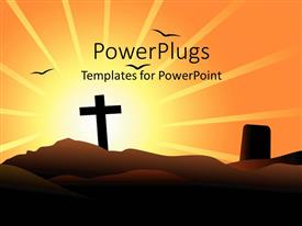 PPT theme consisting of a cross on a mounatain with a sun rise