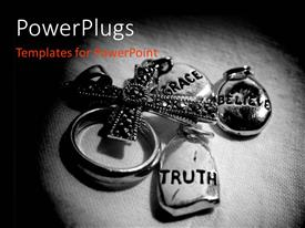 PPT layouts with a cross with a ring and three charms having different text on them