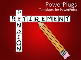 5000 retirement powerpoint templates w retirement themed backgrounds ppt theme having crosswords with pencil filling in the words pension and retirement on a red template size toneelgroepblik Images