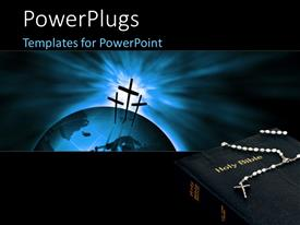 5000 religious powerpoint templates w religious themed backgrounds ppt theme having crucifix on a 3d globe over a glowing background with a holy bible template size toneelgroepblik Choice Image