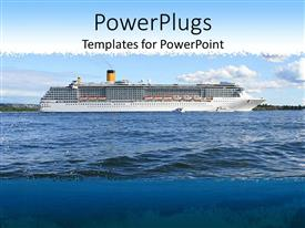 Elegant PPT theme enhanced with cruise ship on sea on sunny day of summer scenery