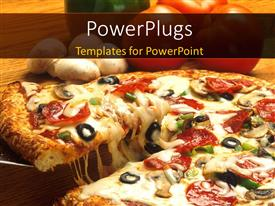 Presentation design featuring crunchy pizza and topping close up with vegetables