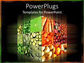 PPT theme enhanced with cube with different fruits and vegetables in dark background