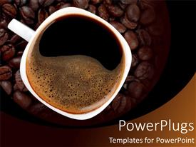 Presentation theme consisting of a cup of black coffee with espresso beans in the background