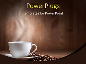 Theme enhanced with a cup of coffee along with a number of coffee beans