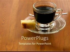 Elegant presentation design enhanced with a cup of coffee with cake