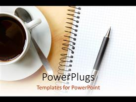 Presentation theme enhanced with a cup of coffee with a pen