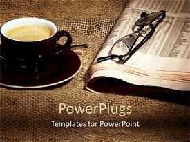 PPT theme consisting of cup of coffee on saucer and newspaper with eyeglasses on rustic tablecloth