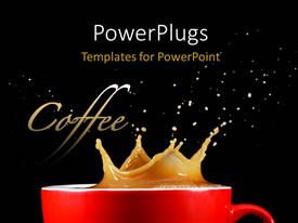 Colorful PPT theme having a cup of coffee with a splash and blackish background