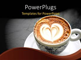 Colorful presentation theme having a cup of creamy coffee with grayish background and place for text