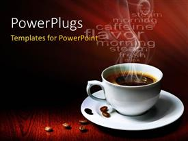 Presentation theme with a cup of hot coffee with reddish background