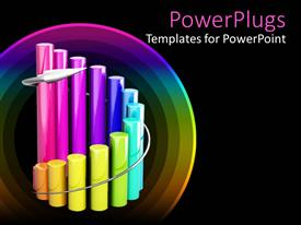 Amazing PPT theme consisting of curved cylindrical multi colored bar chart on black background