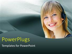 Amazing theme consisting of customer support lady with headphone and microphone over grey background