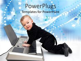 Colorful presentation design having cute baby boy dressed in black tuxedo playing a piano