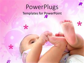 Theme having cute baby boy playing on a floral pink background