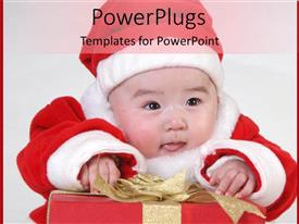 Colorful presentation having cute baby dressed in santa regalia smiling over christmas gift box