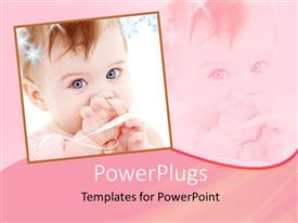 Elegant presentation design enhanced with cute baby picture with blue eyes on pink background