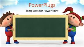 Amazing presentation theme consisting of cute cartoon boy and girl with blackboard, education concept with sky in the background