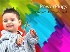 Colorful slides having cute kid in dad's shirt holding paint brushes with colorful paint daubs
