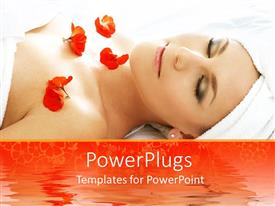 Audience pleasing presentation theme featuring cute lady in spa with red flowers on her chest