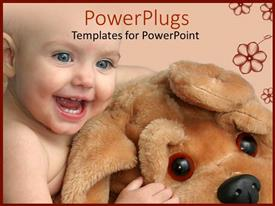 PPT layouts having cute little baby playing with big dog teddy bear