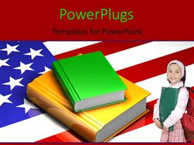 Amazing slides consisting of a cute pupil standing on an American flag with a stack of books