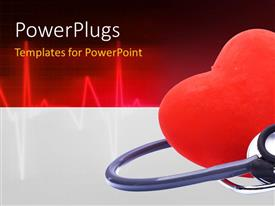 Amazing PPT theme consisting of cute red heart with a stethoscope medical background