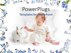 Presentation theme enhanced with a cute small baby playing with a white rabbit