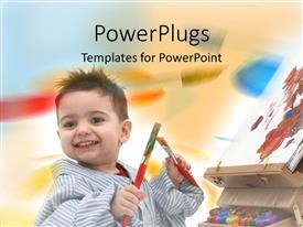 Audience pleasing PPT theme featuring cute small male kid holding two paint brushes with a canvas