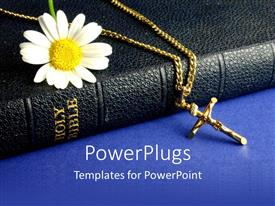 Beautiful presentation theme with daisy and crucifix on old Bible