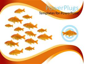 Presentation featuring dare to be different metaphor with one goldfish swimming in different direction from other fish
