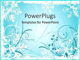 Presentation having dark blue and white floral patterns on teal background