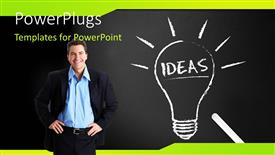 PPT theme enhanced with light bulb depicting bright idea on chalkboard with man standing by