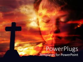 Colorful presentation theme having dark cross and cloud at sunset with little boy praying