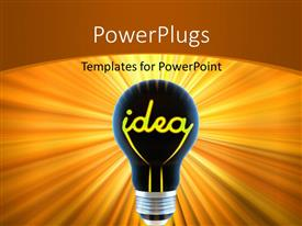 Slides having dark light bulb with word yellow colored word IDEA as filament